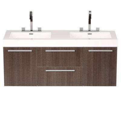 Opulento 54 in. Double Vanity in Gray Oak with Acrylic Vanity Top in White with White Basins and Mirror Medicine Cabinet