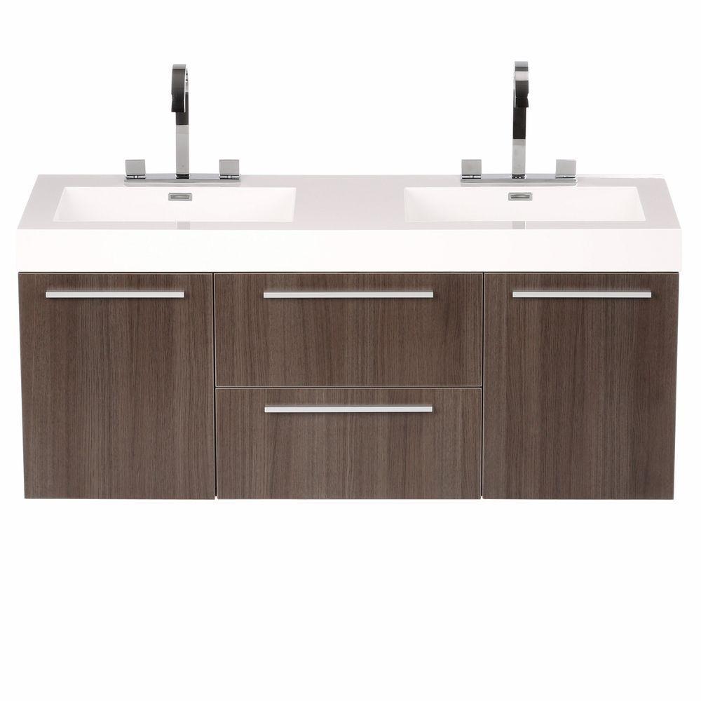 54 vanity double sink. Opulento 54 In  Double Vanity Gray Oak With Acrylic Top White 50 58 Sink Bathroom Vanities Bath The Home Depot