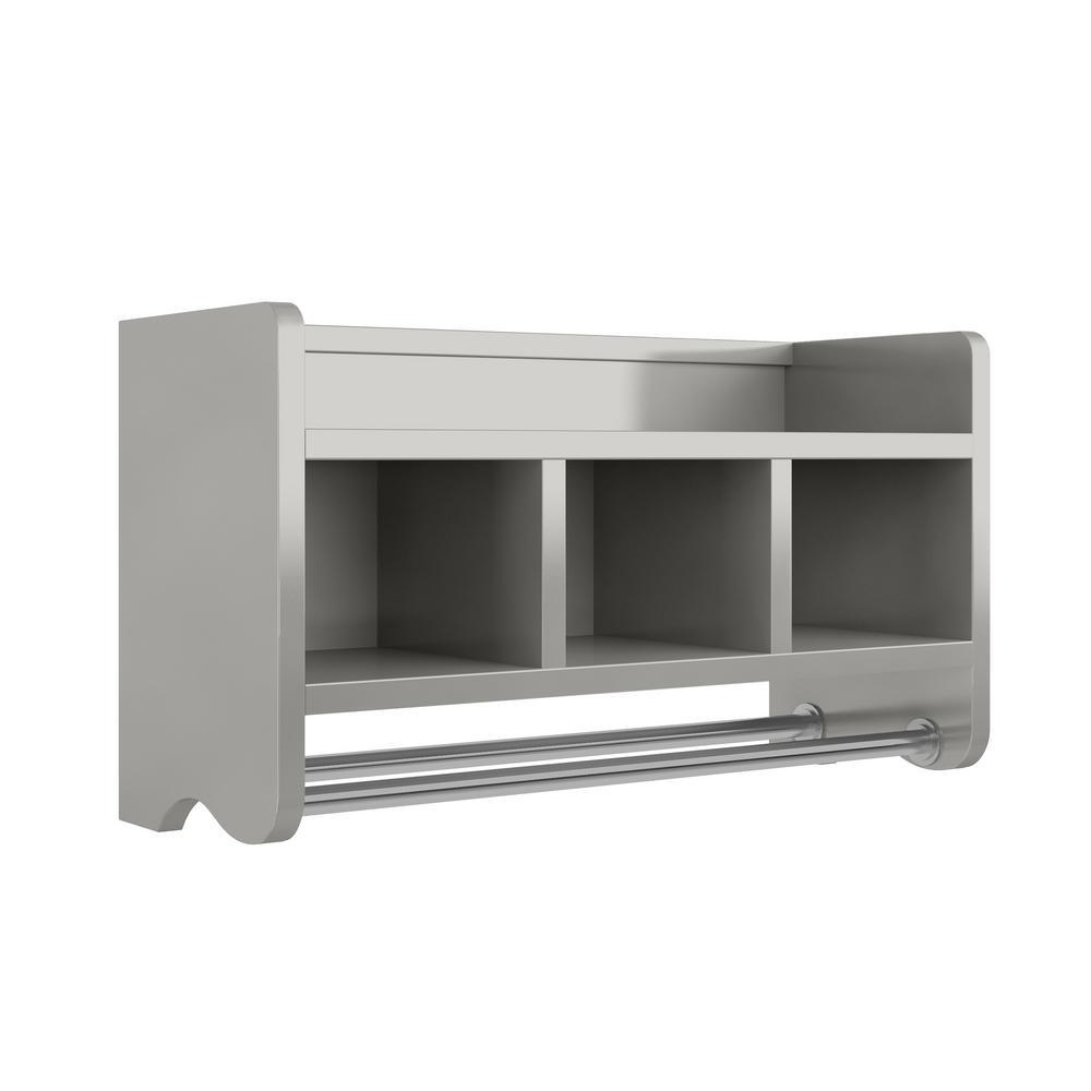 25 in. W Bath Storage Shelf with Towel Rod in Gray