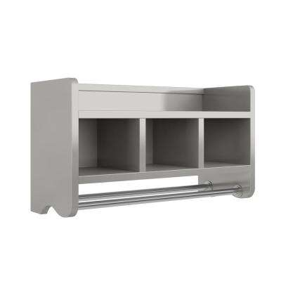 25 in. W Bath Storage Shelf with Towel Rod in Gray