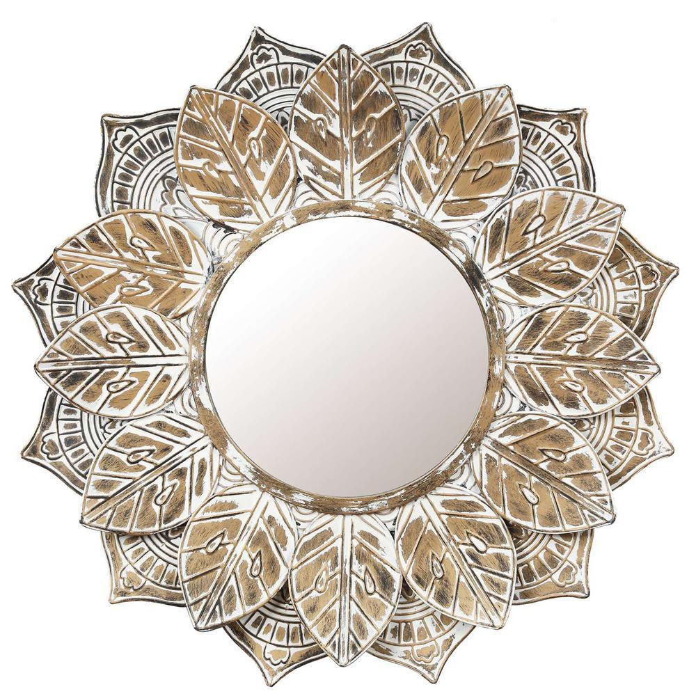 Medium Round Brown Contemporary Mirror (31.5 in. H x 31.5 in. W)