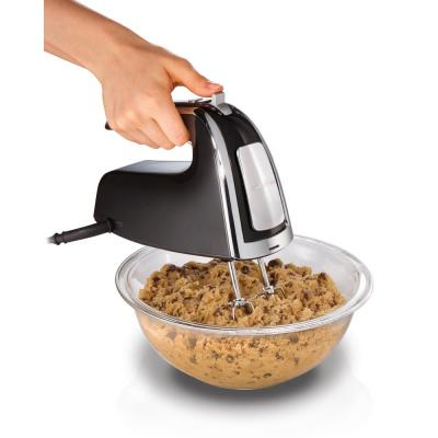 6-Speed Black Hand Mixer with Beater, Whisk and Dough Hook Attachments