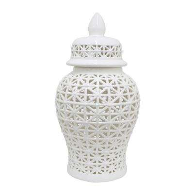 15 in. Porcelain Ceramic Pierced Jar in White