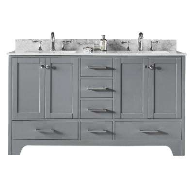 Clariette 60 in. W x 22 in. D x 34.21 in. H Bath Vanity in Taupe Grey with Marble Vanity Top in White with White Basins
