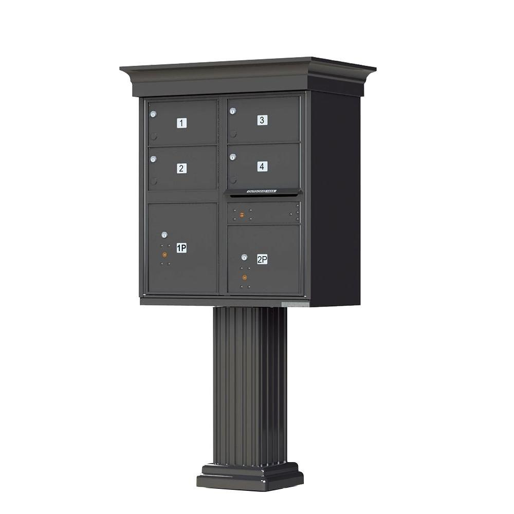1570 Series 4-Large Mailboxes, 1-Outgoing, 2-Parcel Lockers, Vital Cluster Box