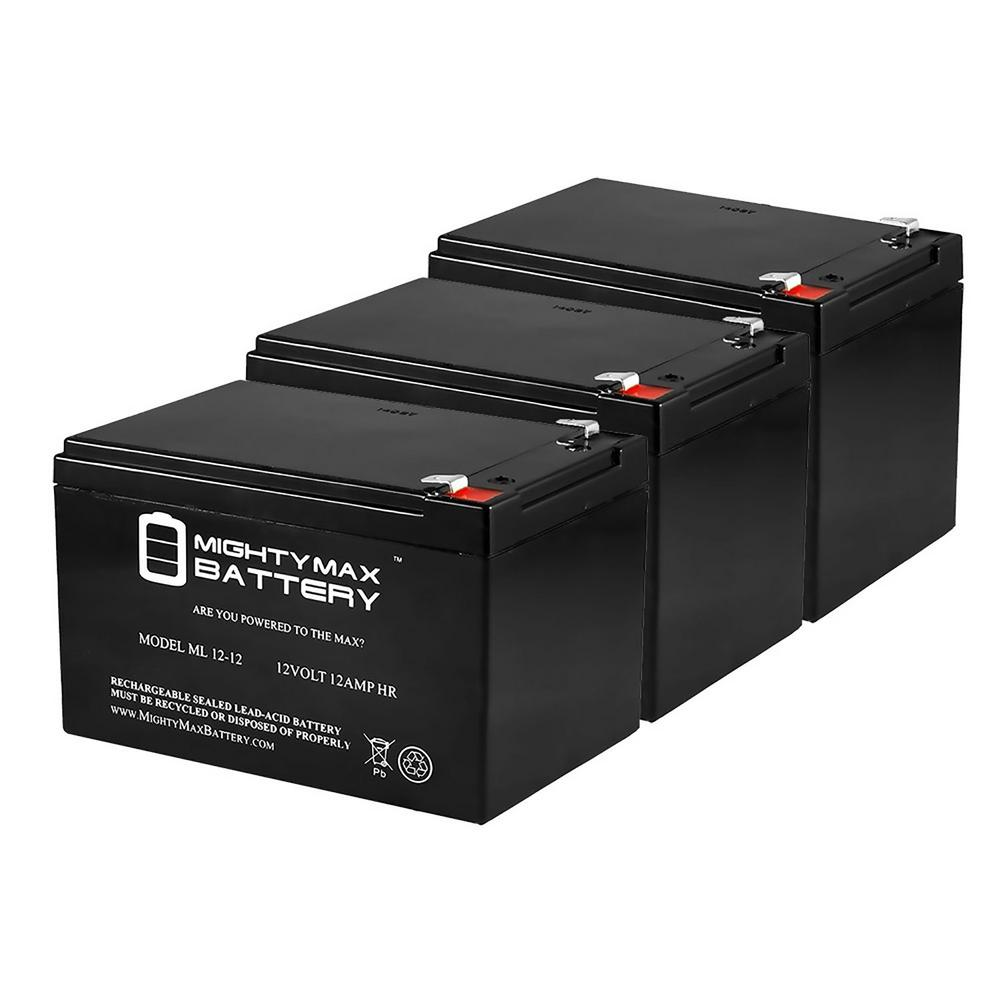 MIGHTY MAX BATTERY 12-Volt 12 Ah Sealed Lead Acid Rechargeable Battery (3-Pack)