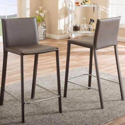 Baxton Studio Crawford Brown Faux Leather Upholstered 2-Piece Bar Stool Set