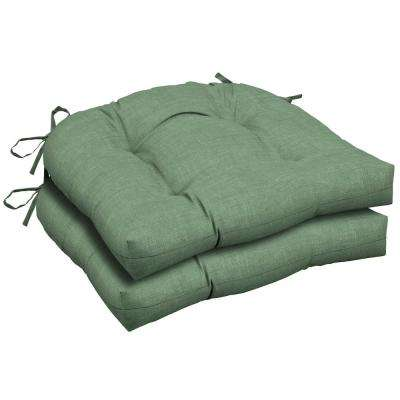 Jade Leala Texture Green Attached Ties Outdoor Chair Cushions