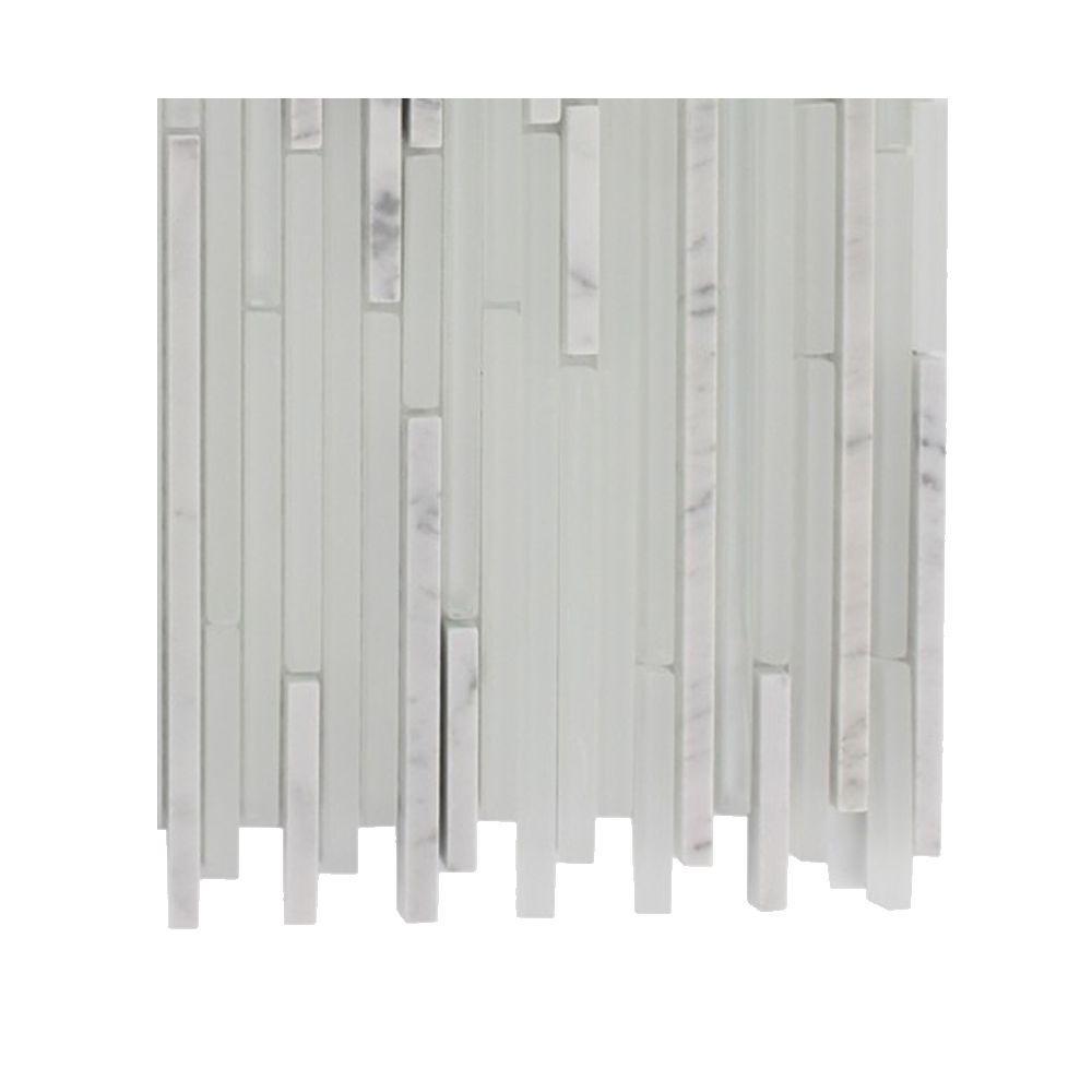 Splashback Tile Tetris Stylus Carrera Ice Pattern Glass Mosaic Floor and Wall Tile - 3 in. x 6 in. x 8 mm Tile Sample
