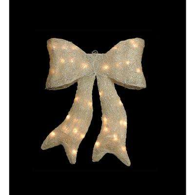 18 in. Lighted Sparkling White Whimsical Sisal Bow Christmas Yard Decor