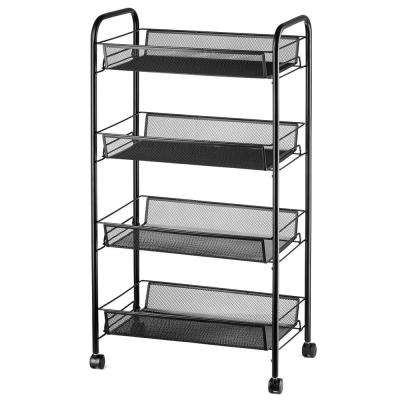 Net 4-Tier Storage iron Cart with Hook in Black