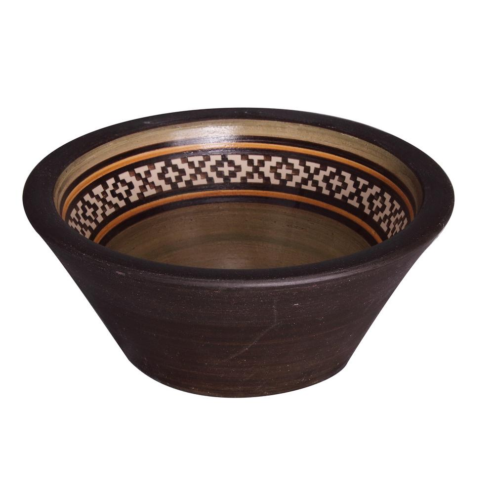 Fango 14 in. Conical Above Counter Basin in Pampas Brown