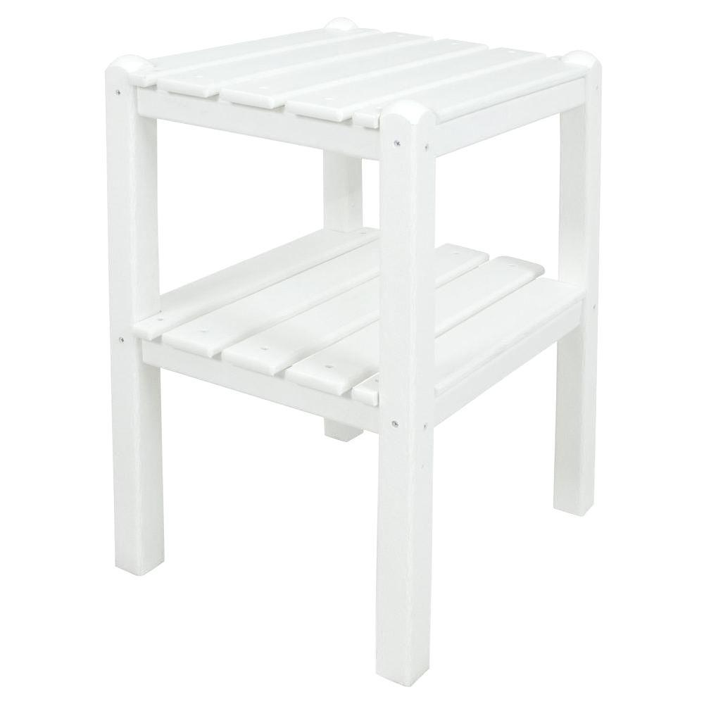 Polywood White 2 Shelf Patio Side Table Twstwh The Home