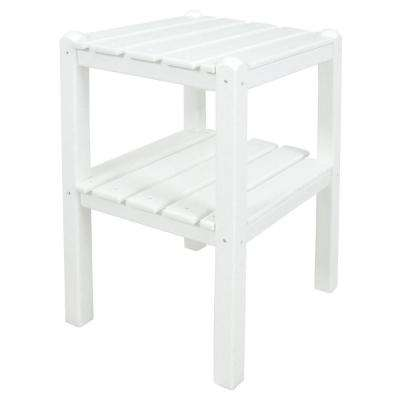 White 2-Shelf Patio Side Table