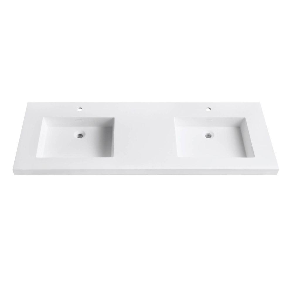 Avanity VersaStone 61 In. W X 22 In. D X 2 In. H Solid Surface Single Basin Vanity  Top In White VUT61WT   The Home Depot