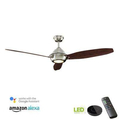 Aero Breeze 60 in. LED Brushed Nickel Ceiling Fan with Light Kit Works with Google Assistant and Alexa
