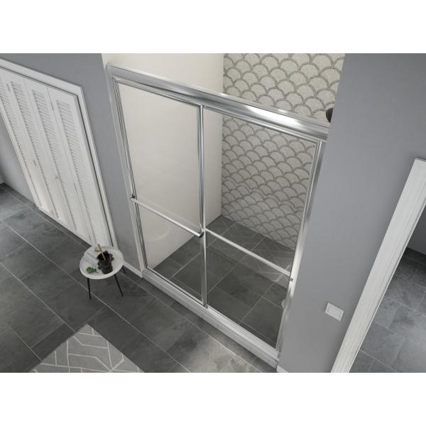 Newport 46 in. to 47.625 in. x 70 in. Framed Sliding Shower Door with Towel Bar in Chrome and Clear Glass