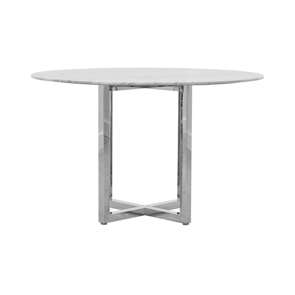 Amalfi Chrome 54 in. Round Natural Carrara Marble Top Counter Table