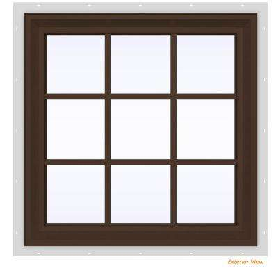 35.5 in. x 29.5 in. V-2500 Series Brown Painted Vinyl Fixed Picture Window with Colonial Grids/Grilles