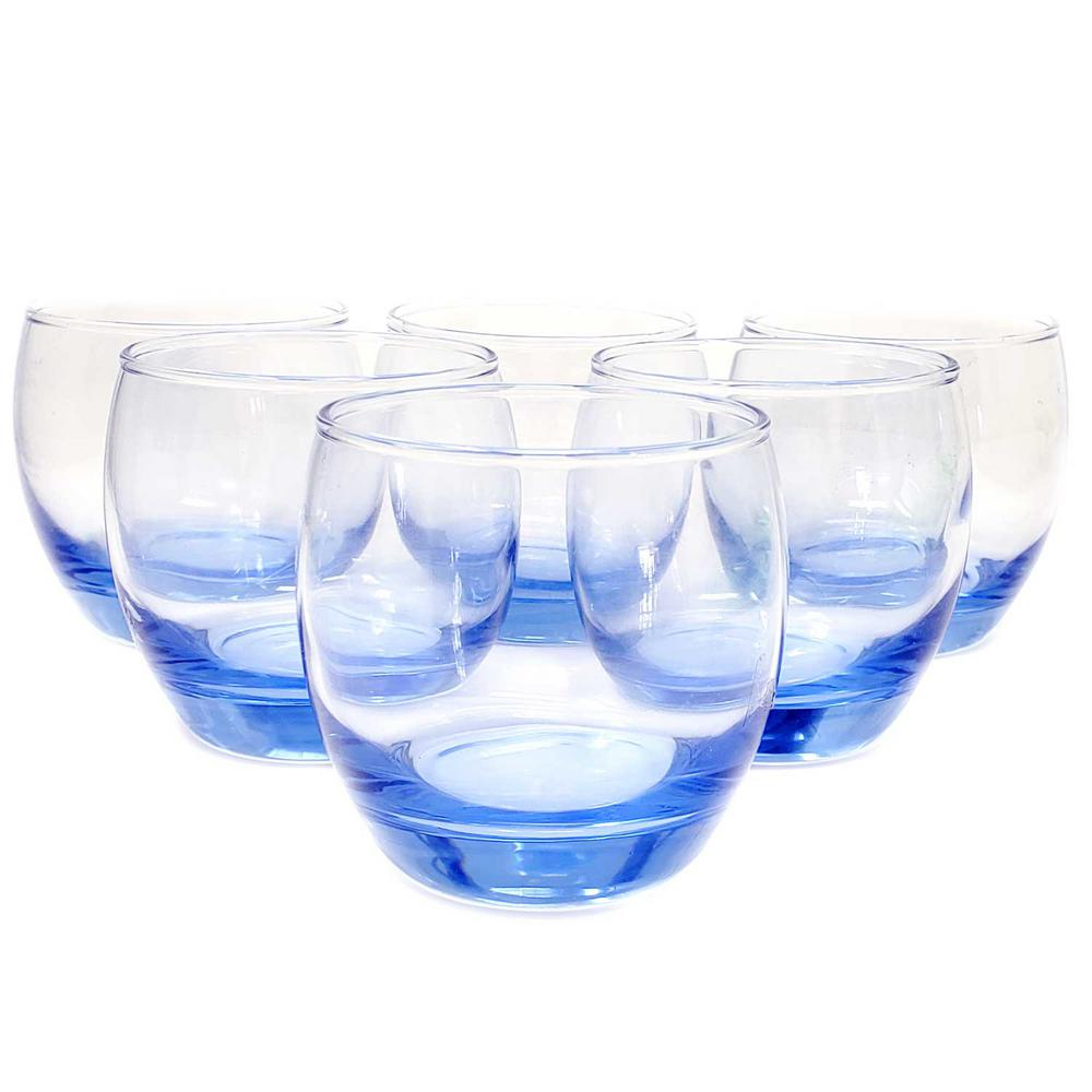 Modern Classic 6-Piece Cobalt Blue Stemless Glasses Set for Wine Whiskey