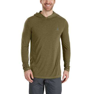 Men's Medium Burnt Olive Heather Polyester/Cocona Force Extremes Hooded Pullover Shirt
