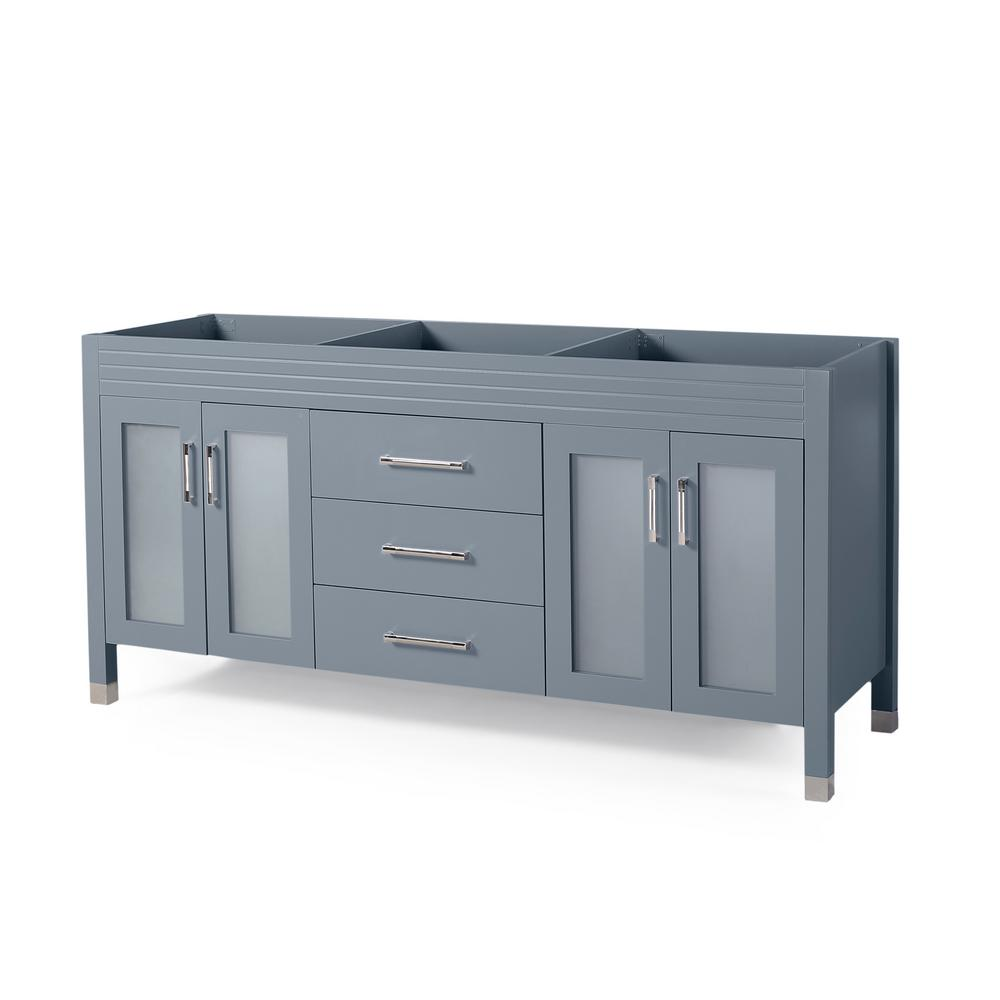 Noble House Halston 72 in. W x 22 in. D Bath Vanity Cabinet Only in Grey