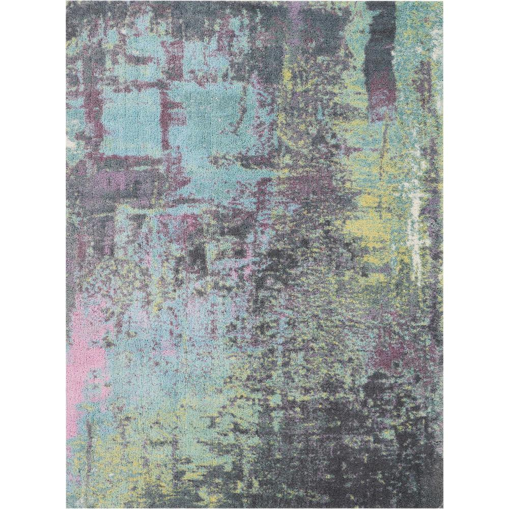 Nourison Abstract Shag 5 X 7 Teal Multicolor Colorful