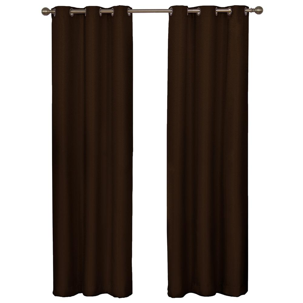 Eclipse Madison Blackout Window Curtain Panel in Chocolate - 42 in. W x 63 in. L