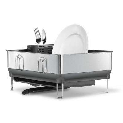 Compact Steel Frame Stainless Steel Dish Rack in Fingerprint