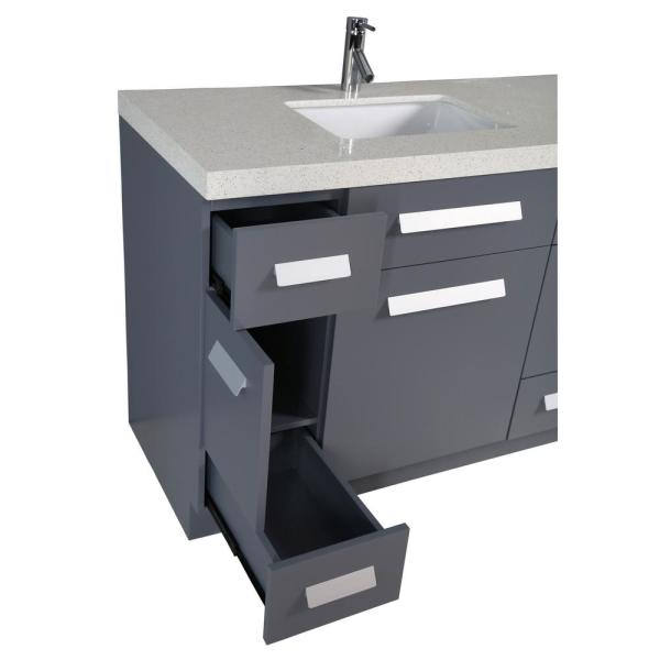 Reviews For Design Element Moscony 84 In W X 22 In D Vanity In Gray With Quartz Vanity Top In White White Basin And Mirror J84 Ds G The Home Depot