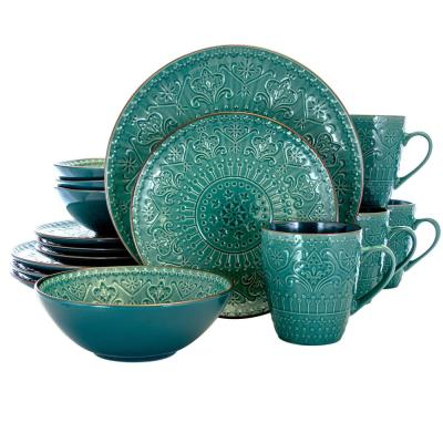 16-Piece Modern Sea Green Stoneware Dinnerware Set (Service for 4)