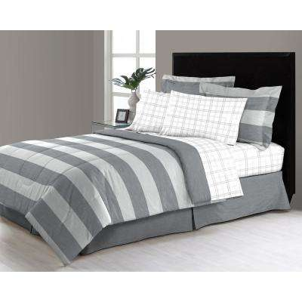 Briggs Grey 6-Piece Twin Bed in a Bag Comforter Set