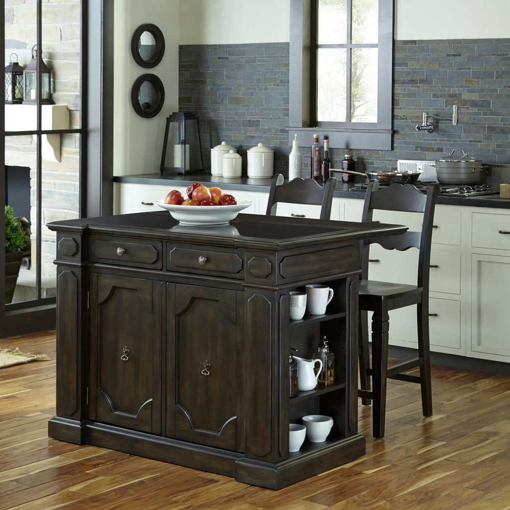 Kitchen Island Furniture Product: Home Styles Nantucket Black Kitchen Island With Granite