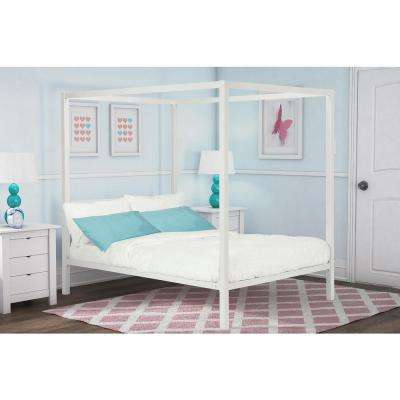 Modern Metal Canopy Full Size Bed Frame in White