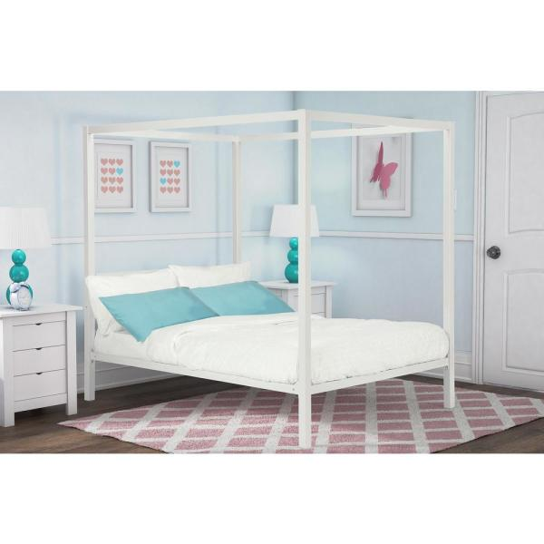 Rory Metal Canopy White Full Size Bed Frame