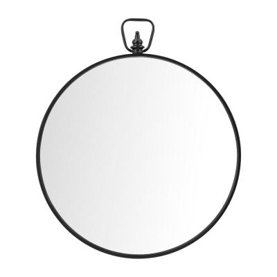 Medium Round Black Modern Mirror (32.5 in. H x 27.5 in. W)