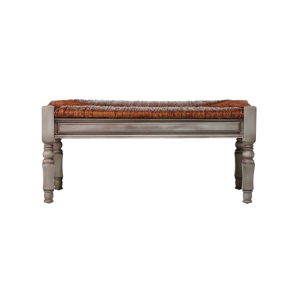 Home Decorators Collection Devonshire 40 in. W Driftwood Bench with Rush Seat