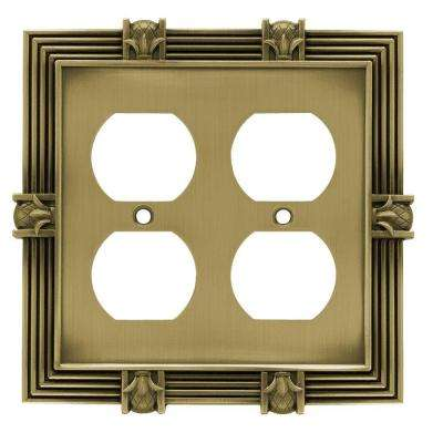 Pineapple Decorative Double Duplex Outlet Cover, Tumbled Antique Brass