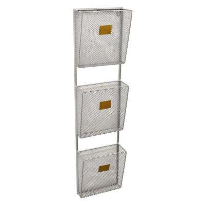 8 in. x 3.75 in. x 32 in. Metal Wall Storage Rack 3 Tier in Silver