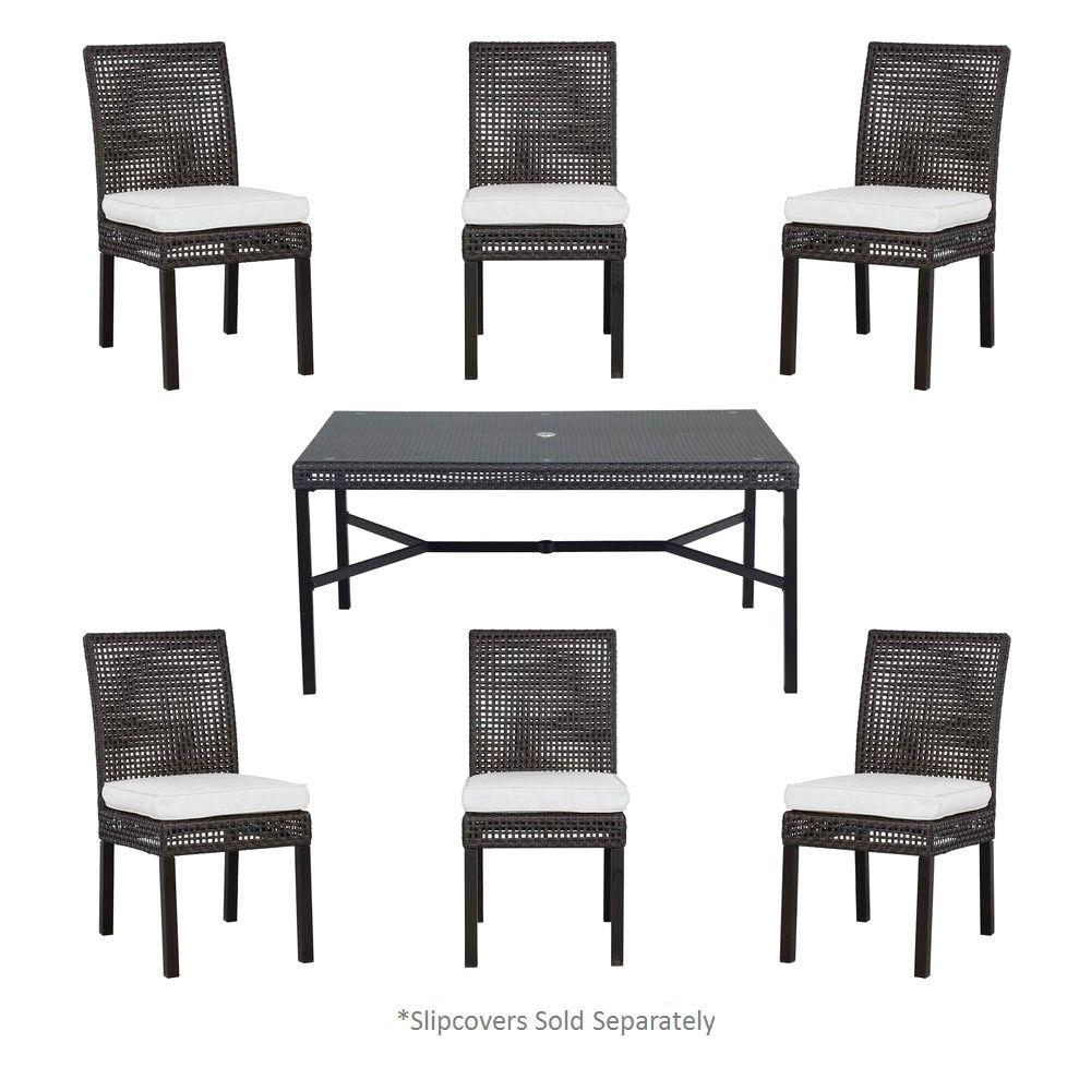 Hampton Bay Fenton 7-Piece Patio Dining Set with Cushion Insert (Slipcovers Sold Separately)