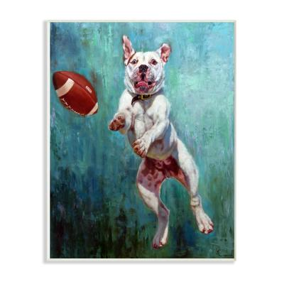 "10 in. x 15 in. ""Bull Dog Playing Football Airborn Funny Painting"" by Artist Lucia Heffernan Wood Wall Art"