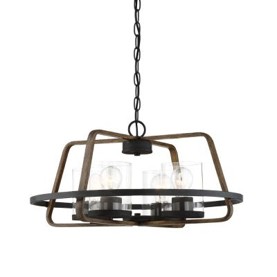 Ryder 4-Light Forged Black Interior Chandelier with Clear Glass Shade