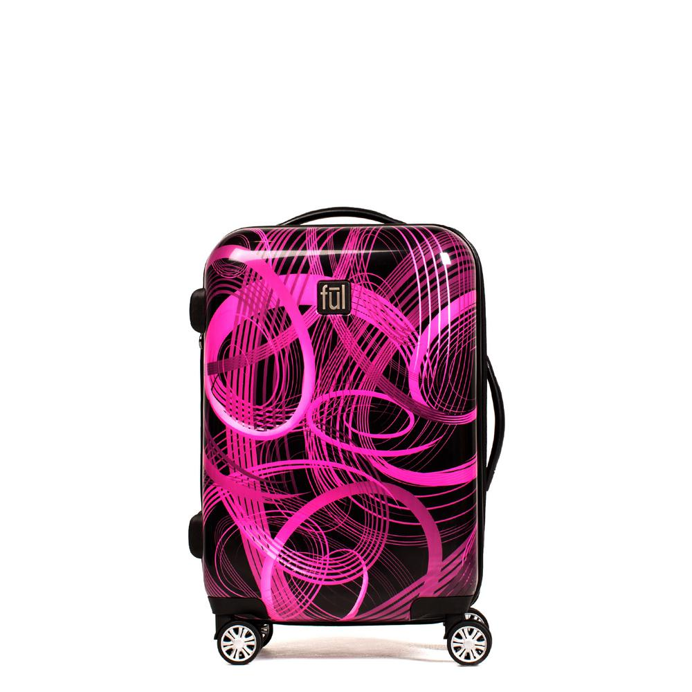Atomic 24 in. Pink ABS Hard Case Upright Spinner Rolling Luggage