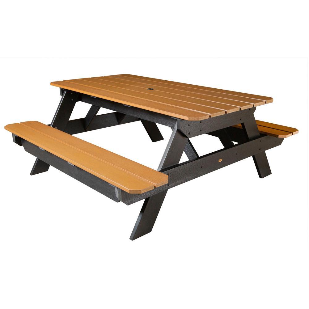 Highwood Hometown Saddle Rectangular Plastic Picnic Table Ad Tbl Hi02 Sdl The Home Depot