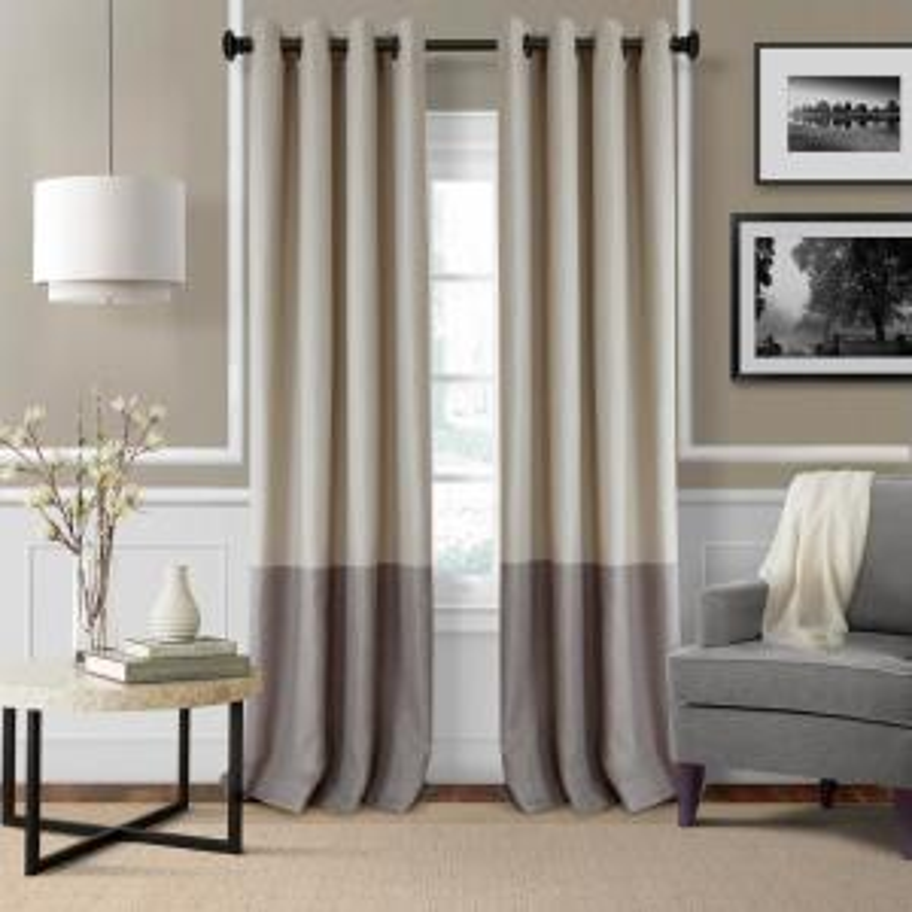 Blackout Braiden Linen Blackout Grommet Single Curtain Panel - 52 inch W x 95 inch L by