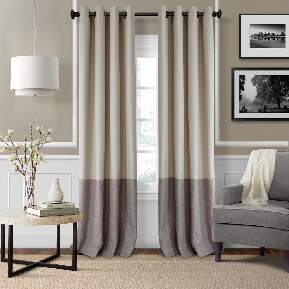 Blackout Braiden Linen Blackout Grommet Single Curtain Panel   52 In. W X  95 In