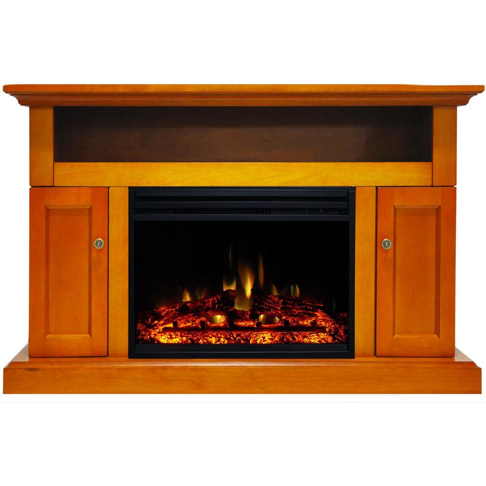 Cambridge Sorrento 47 in. Electric Fireplace Heater TV Stand in Teak with Enhanced Log Display and Remote Control