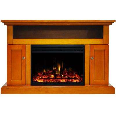 Sorrento 47 in. Electric Fireplace Heater TV Stand in Teak with Enhanced Log Display and Remote Control
