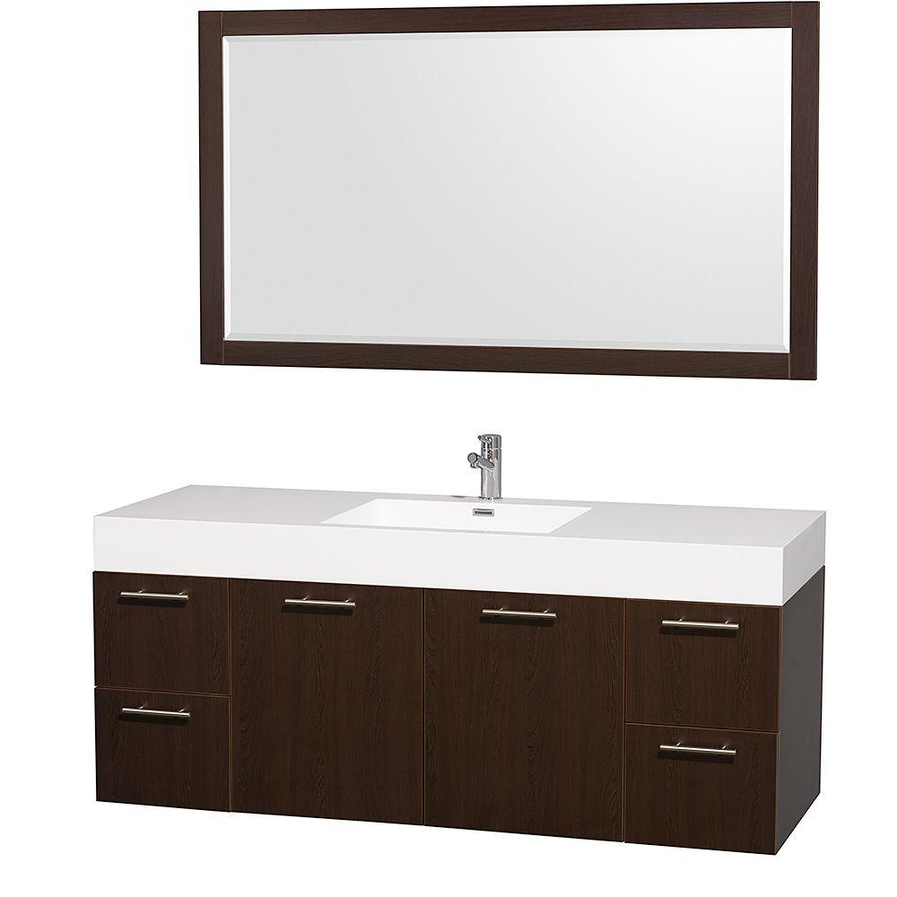 Wyndham Collection Amare 60 In. Vanity In Espresso With Acrylic Resin Vanity  Top In