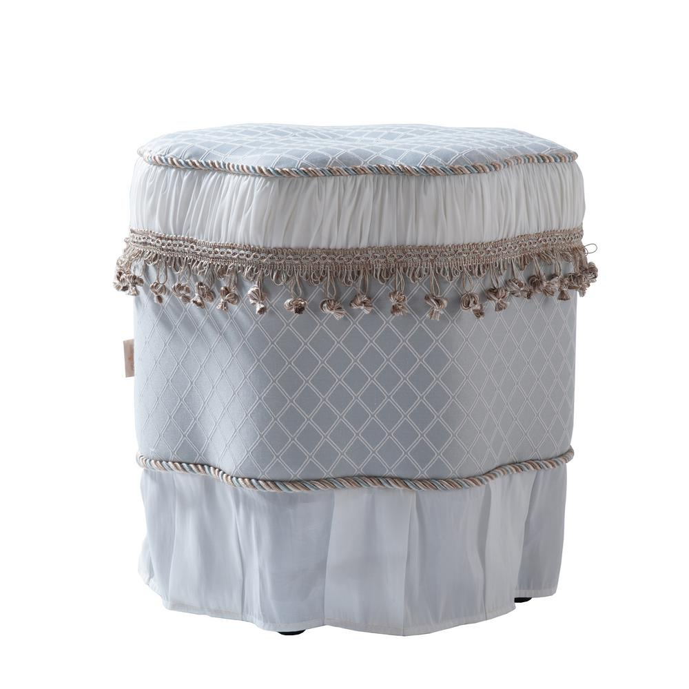 Eleanor Silver Blue and White Decorative Ottoman